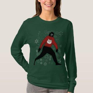 christmas sweater with bigfoot and santa